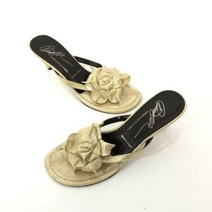 Donald Pliner Suede Leather Thong Sandals Metallic